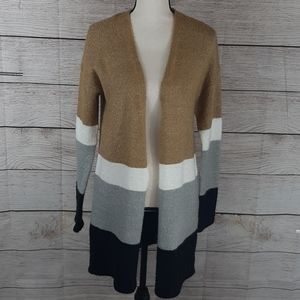 Love by Design gold/white/black/gray cardigan Lg